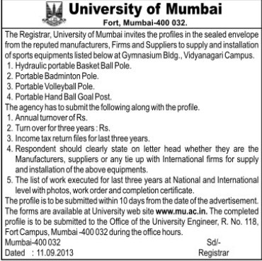 Supply of Sports Equipments (University of Mumbai (UoM))