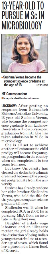 Sushma Verma pursue MSc in Microbiology (Babasaheb Bhimrao Ambedkar University)