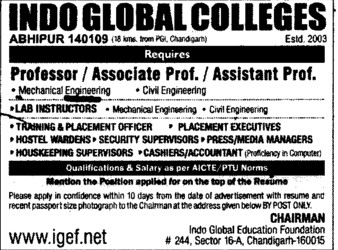 Asstt and Asso Professor (Indo Global Group of Colleges)