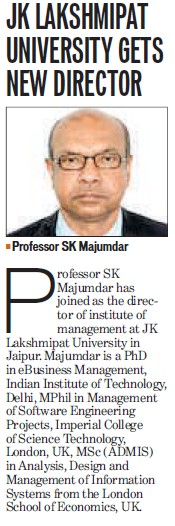 JKL Univ. gets new Director (JK Lakshmipat University)