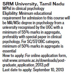 M Phil in Clinical Psychology (SRM University)