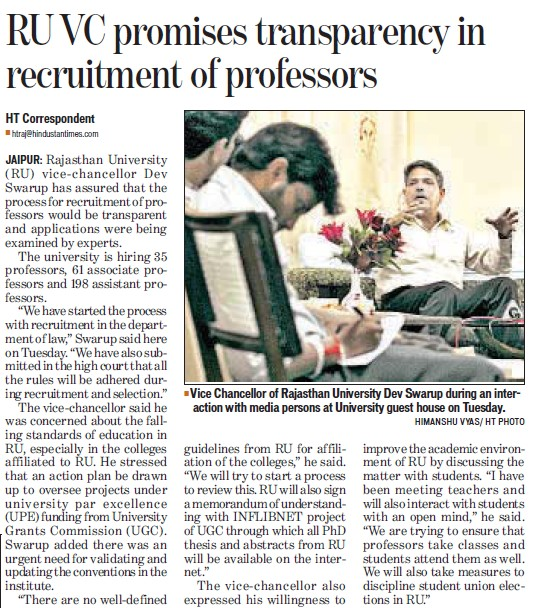 VC promises transparency in recruitment of professors (University of Rajasthan)