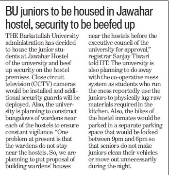 Juniors to be housed in jawahar hostels, security to be beefed up (Barkatullah University)