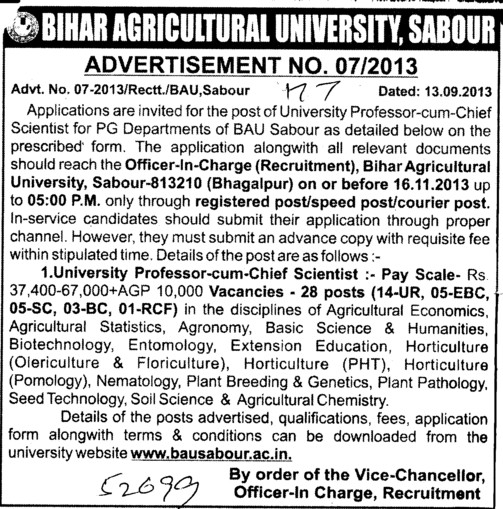 Professor cum Chief Scientists (Bihar Agricultural University)