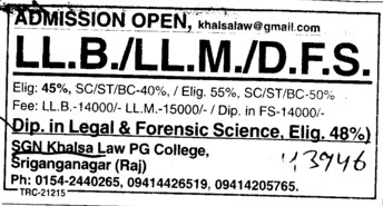 LLB and DFS (SGN Khalsa Law PG College)
