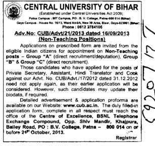 Non teaching posts (Central University of Bihar)