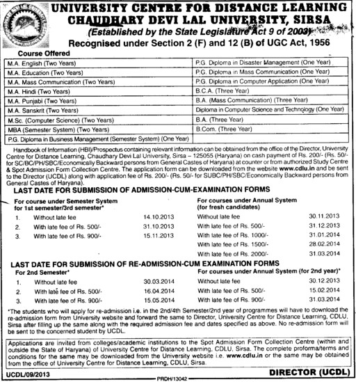PGD in Business Management (Chaudhary Devi Lal University CDLU)