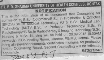 BSc in Optometry (Pt BD Sharma University of Health Sciences (BDSUHS))