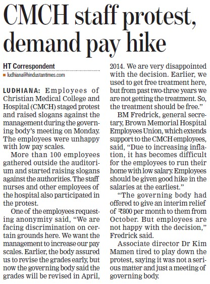 CMCH staff protest, demand pay hike (Christian Medical College and Hospital (CMC))