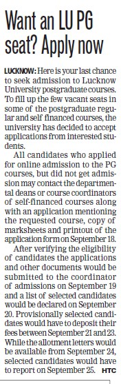 Post Graduates seats left vacant (Lucknow University)