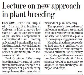 Lecture on new approach in plant breeding (Ch Charan Singh University)