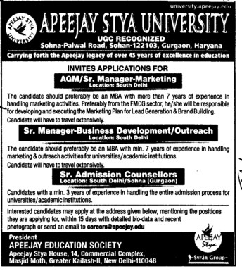 Senior Admission Counsellor (Apeejay Stya University)