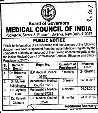 Licenses of Doctors suspended (Medical Council of India (MCI))