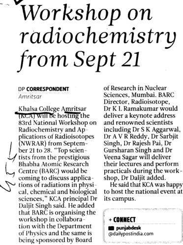 Workshop on Radiochemistry (Khalsa College)