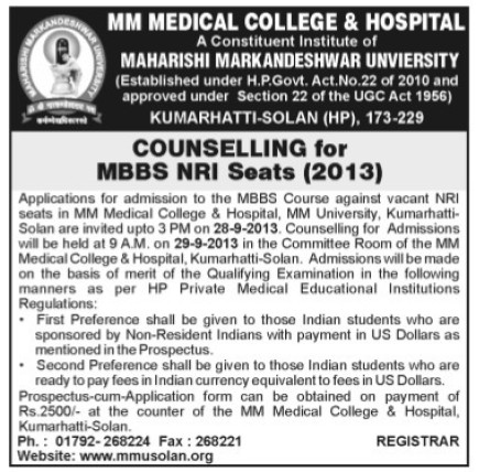 MBBS Course (MM Medical College Kumarhatti)