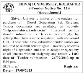 Purchase of Diesel Generating set (Shivaji University)
