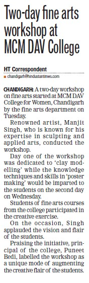 Workshop on Fine arts (MCM DAV College for Women)