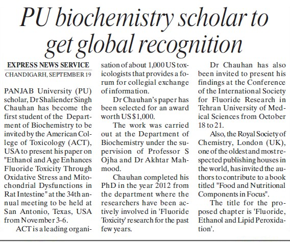 PU biochemistry scholar to get global recognition (Panjab University)