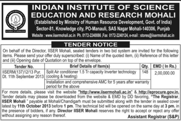Supply of Split Air Conditioner (Indian Institute of Science Education and Research (IISER))