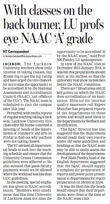 LU Profs eye NAAC A grade (Lucknow University)