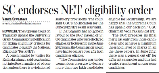 SC endorses NET eligibility order (University Grants Commission (UGC))