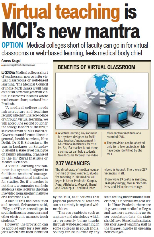 Virtual teaching is MCIs new mantra (Medical Council of India (MCI))