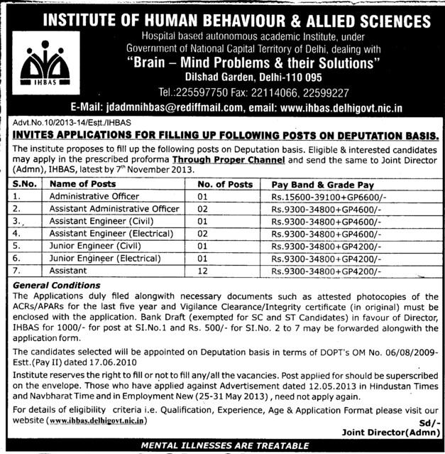 Administrative Officer (Institute of Human Behaviour and Allied Sciences)