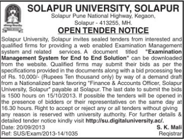 Provide Examination Management System (Solapur University)