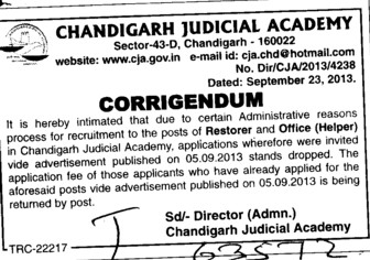 Restorer and Helper (Chandigarh Judicial Academy)