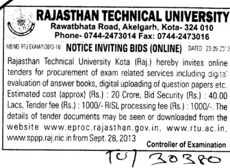 Supply of Answer sheets (Rajasthan Technical University (RTU))