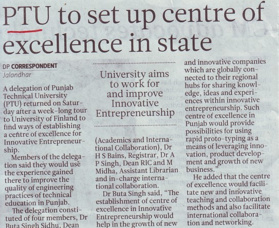 PTU to set up centre of excellence in state (Punjab Technical University PTU)