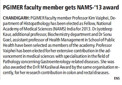 PGIMER faculty member gets NAMS 2013 award (Post-Graduate Institute of Medical Education and Research (PGIMER))