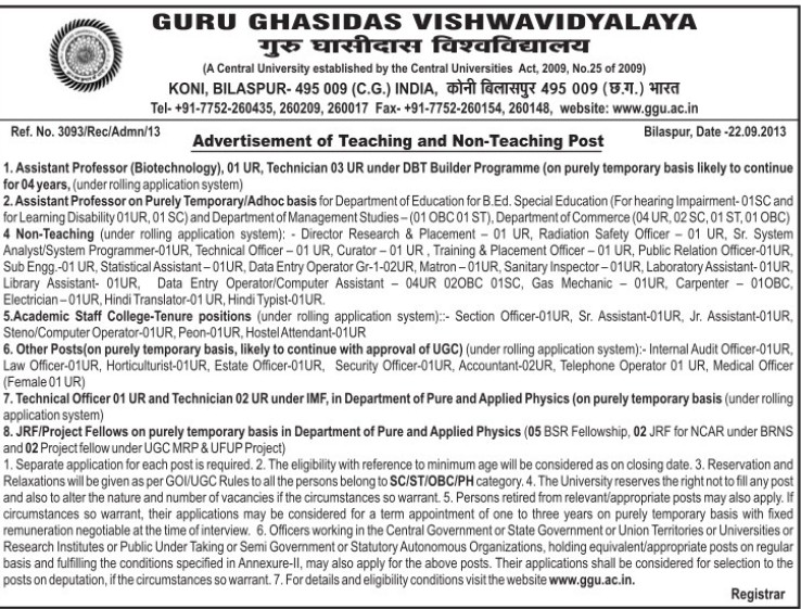Asstt Professor and Technician (Guru Ghasidas University)