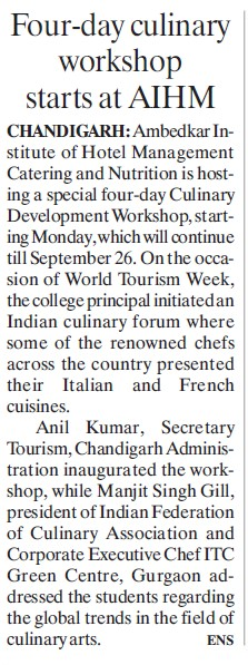 Culinary Development Workshop started (Dr Ambedkar Institute of Hotel Management Catering and Nutrition)