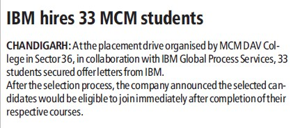 IBM hires 33 MCM students (MCM DAV College for Women)