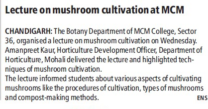 Lecture on Mushroom cultivation (MCM DAV College for Women)