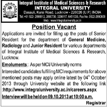 Senior Resident for Radiology Department (Integral University)