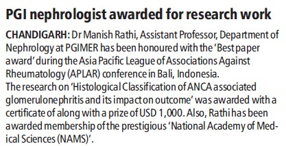 Nephrologist awarded for research work (Post-Graduate Institute of Medical Education and Research (PGIMER))
