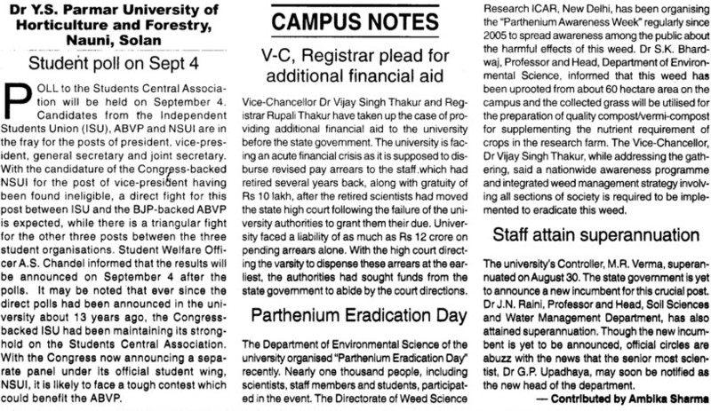 Parthenium Eradication day etc' (Dr Yashwant Singh Parmar University of Horticulture and Forestry)