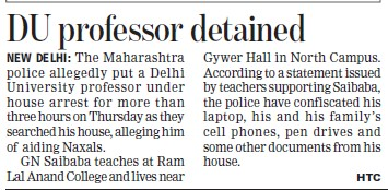 DU Professor detained (Delhi University)