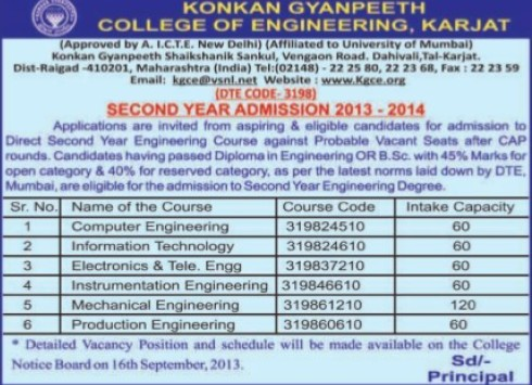 BTech in ECE, EE and ME (Konkan Gyanpeeth College of Engineering)