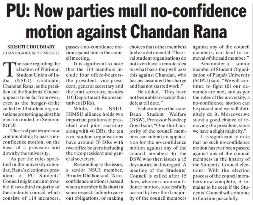PU parties no confidence motion against Chandan Rana (National Students Union of India NSUI Punjab)
