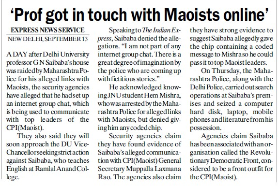 Prof got in touch with Maoists online (Delhi University)