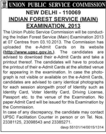 Indian Forest Service Examination 2013 (Union Public Service Commission (UPSC))