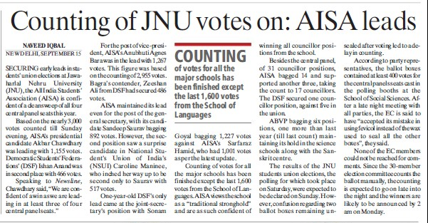 Counting of JNU votes on AISA leads (Jawaharlal Nehru University)