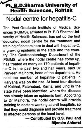 Nodal Centre for hepatitis C (Pt BD Sharma University of Health Sciences (BDSUHS))
