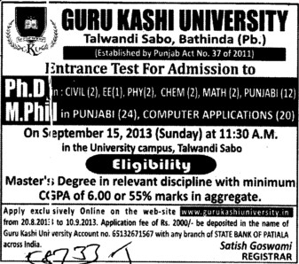 PhD and M Phil (Guru Kashi University)