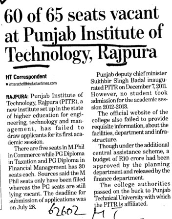 60 of 65 seats vacant (Punjab Institute of Technology)