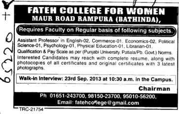 Asstt Professor for Commerce (Fateh College for Women)