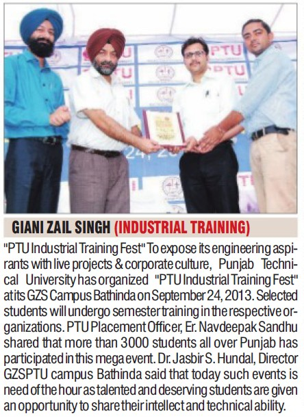 Industrial training program held (Giani Zail Singh College of Engineering and Technology GZCET)